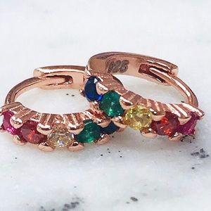 Rose Gold Vermeil Multi Crystal Ear Hugger Hoops